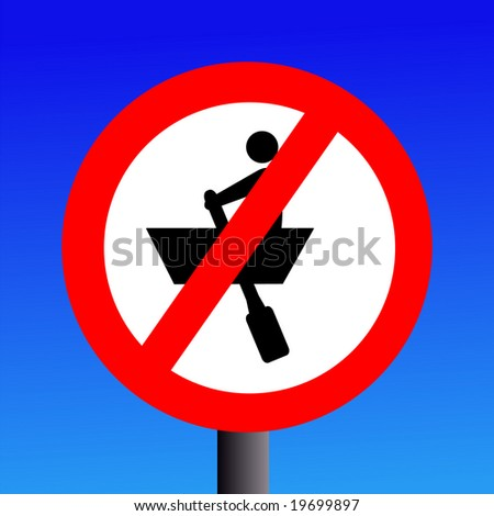 no rowing boats sign on blue illustration JPG