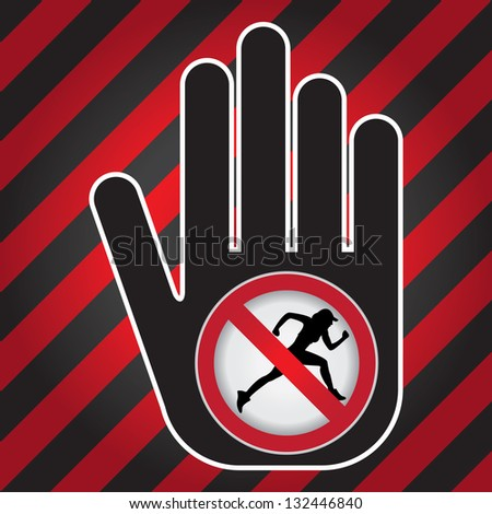 No Running Prohibited Sign Present By Hand With No Running Sign Inside in Caution Zone Dark and Red Background - stock photo