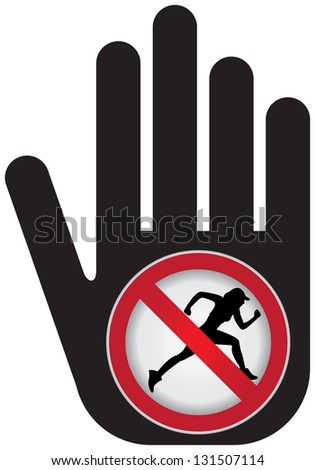 No Running Prohibited Sign Present By Hand With No Running Sign Inside Isolated on White Background - stock photo
