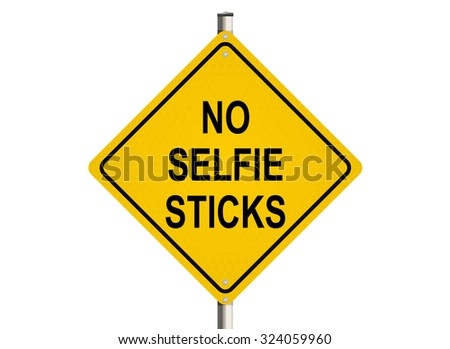 No selfie sticks. Road sign on the white background. Raster illustration.