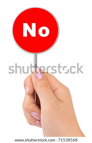 No sign in hand isolated on white background - stock photo