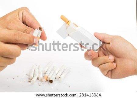 No smoke and stop your badly health with white background