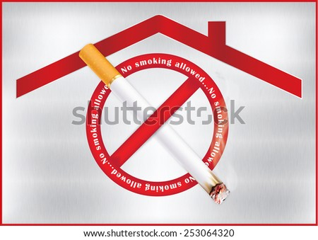 No smoking allowed - red sticker for print, containing a realistic lighting cigarette on prohibited sign; metallic background. Smoking permitted only in designated areas. Print colors used.