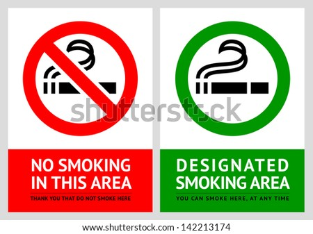 No smoking and Smoking area labels - Set 6. Rasterized versions (copy of the vector) - stock photo