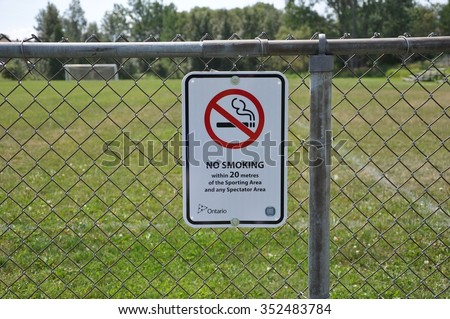 No smoking at sporting area sign - stock photo