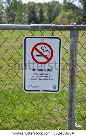 No smoking at sporting area signage - stock photo