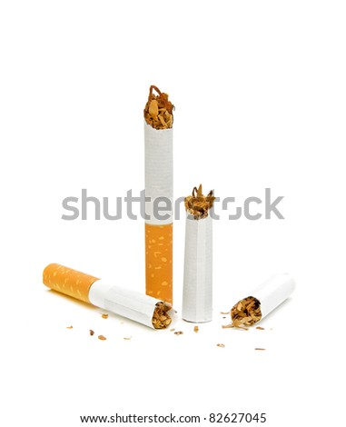 No smoking. Broken cigarette. Isolated on white background.