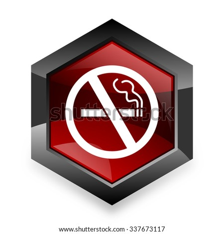 no smoking red hexagon 3d modern design icon on white background