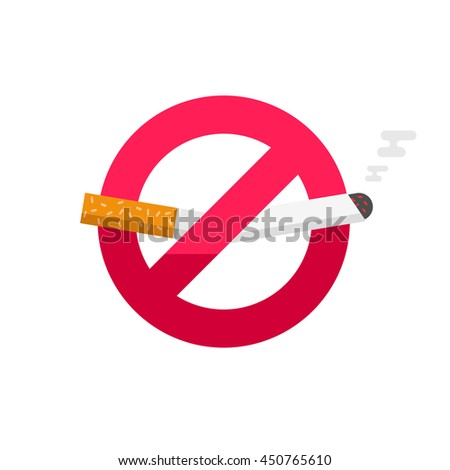 No smoking sign, don't smoke icon badge isolated on white background, broken cigarette label image