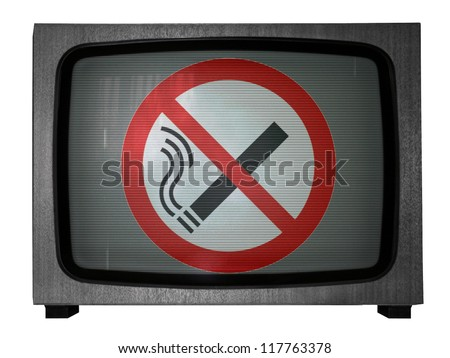 No smoking sign drawn at old TV - stock photo