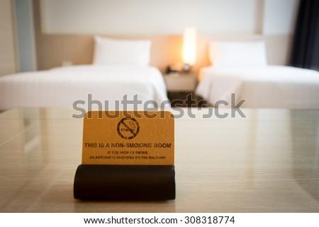 No smoking sign in bedroom - stock photo