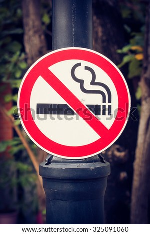 no smoking sign in park, thailand.