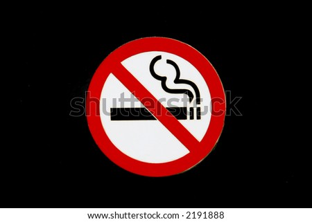 No smoking sign, isolaged on a black background, closeup with copy space - stock photo