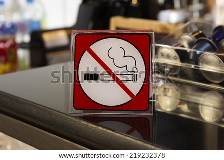 NO SMOKING SIGN on the coffee bar - stock photo