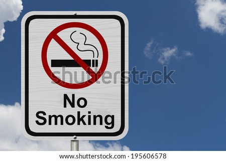 No Smoking Sign, Red and White sign with words No Smoking and cigarette symbol with blue sky background - stock photo