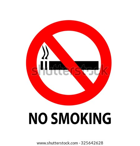No smoking sign with a text