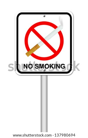no smoking sign with cigarette on white background - stock photo
