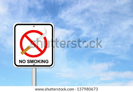 no smoking sign with cigarette with blue sky blank for text