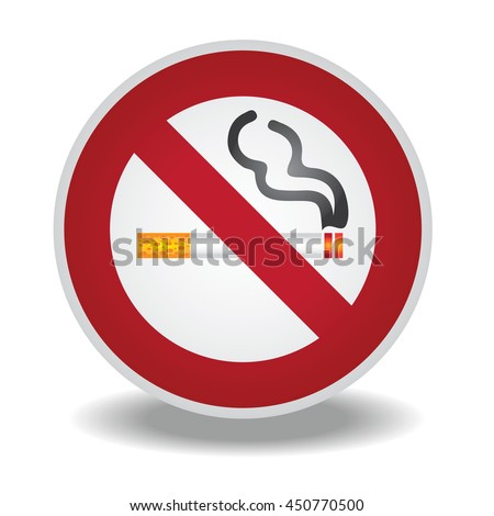 No Smoking sign with shadow on white background