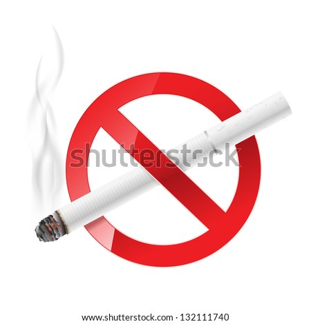 no smoking sign with white cigarette - stock photo