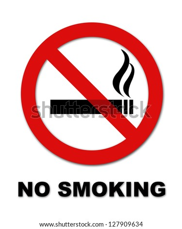 No smoking symbol and text on white background - stock photo