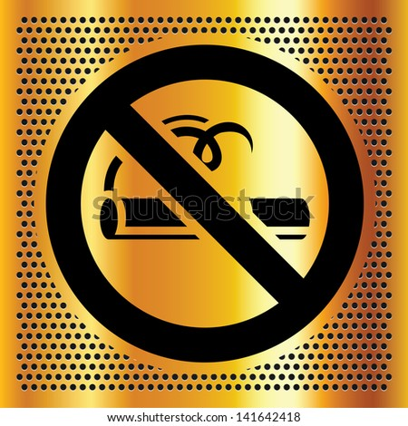 No smoking symbol on a bronze background - stock photo