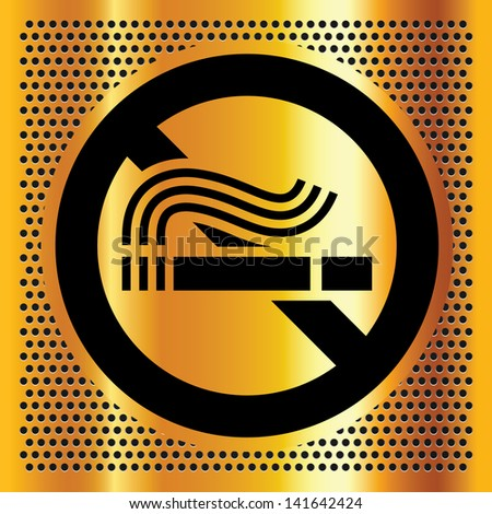 No smoking symbol on a gold background. - stock photo