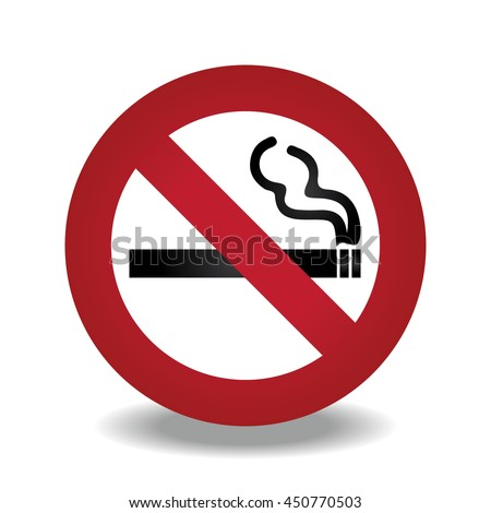 No Smoking symbol with shadow on white background