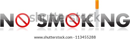 No smoking text illustration design over white - stock photo