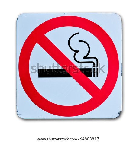 no smoking warning sign on white background