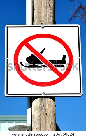 No snowmobile sign - stock photo