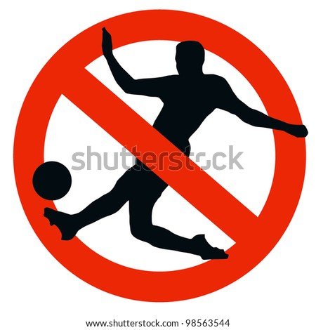 No Soccer Allowed on Traffic Prohibition Sign - stock photo