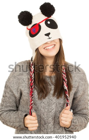 No stress no worry. Young charming female smiling with a hat covering her eyes. - stock photo