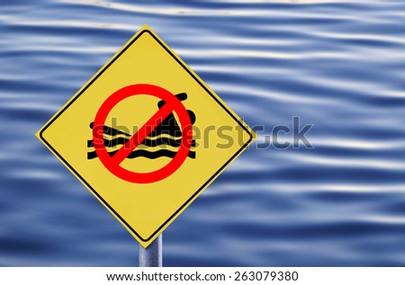 No swimming in water label - stock photo