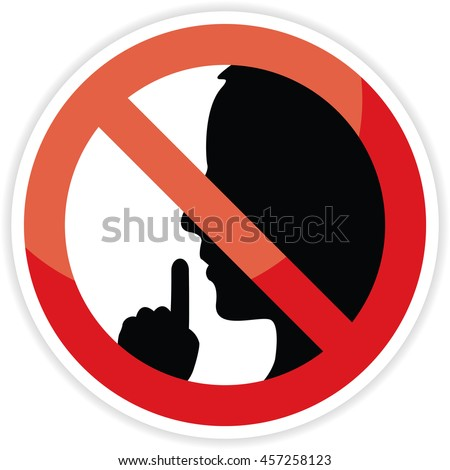 No talking sign on white background.
