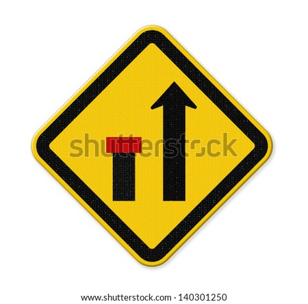 no through road sign,way closed left - stock photo