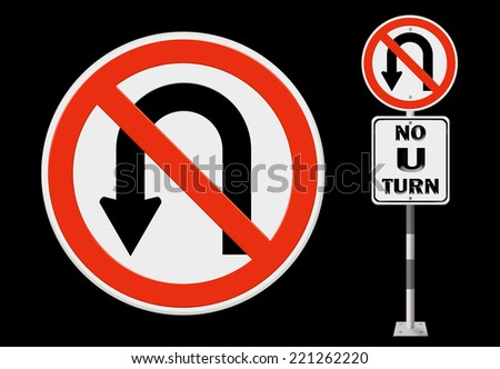 No U-turn road sign - stock photo