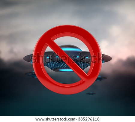 NO UFO space invaders. Alien saucer spaceships. Unidentified objects flying in the dark sky. - stock photo