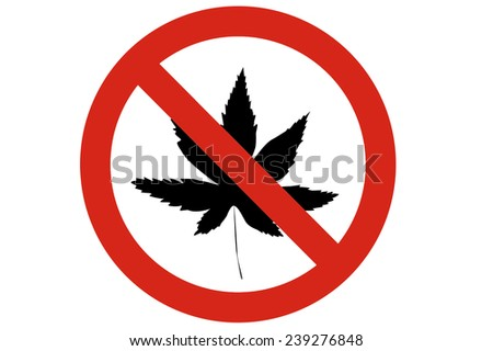No use marijuana circle prohibited road sign isolated on pure white background - stock photo