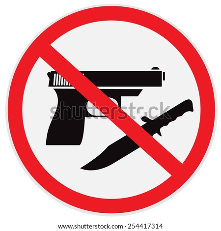 No weapon allowed, prohibited, sign, clip art - stock photo