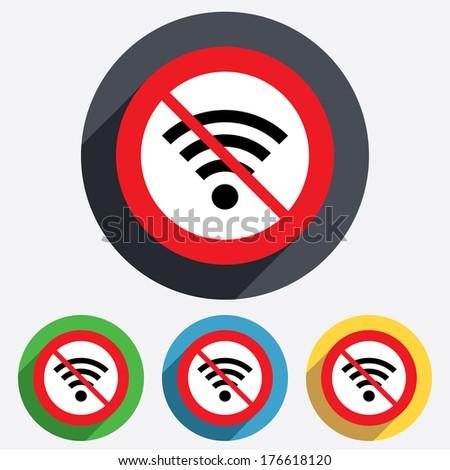 No Wifi sign. Wi-fi symbol. Wireless Network icon. Wifi zone. Red circle prohibition sign. Stop flat symbol. - stock photo