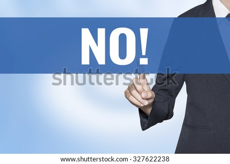 No word on virtual screen touch by business woman blue background - stock photo