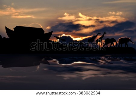 Noah's ark and animals, cloudy sunset in background