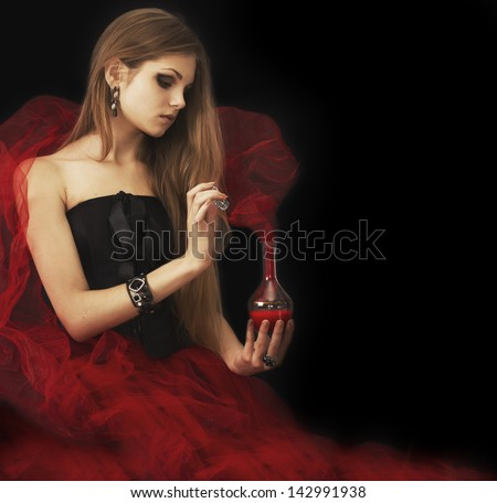 Nobility holding capacity with fairy tale.Fine art portrait. - stock photo