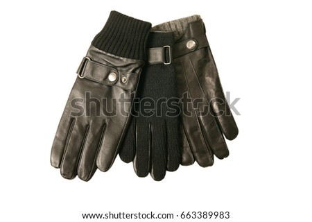 Noble black men's leather gloves isolated