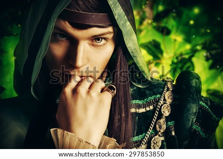 Noble fairy elf in the magic forest. Fantasy. Fairy tale, magic. - stock photo
