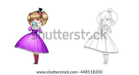 Noble Girl, A Princess, Drinking Tea. Coloring Book, Outline Sketch, Human Character Design isolated on White Background  - stock photo