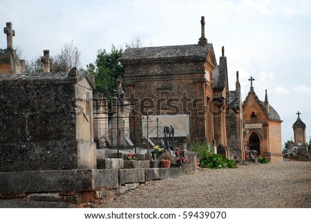 nobody on scene at an old graveyard cemetery - stock photo
