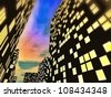 nocturnal townscape - stock photo