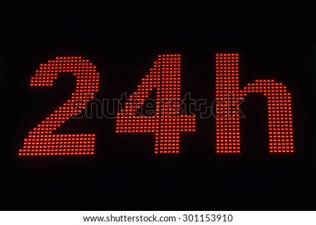 Nocturne trading light signal on shop (Pharmacy). With the message open 24 hours a day Bright night pharmacy sign on.  - stock photo